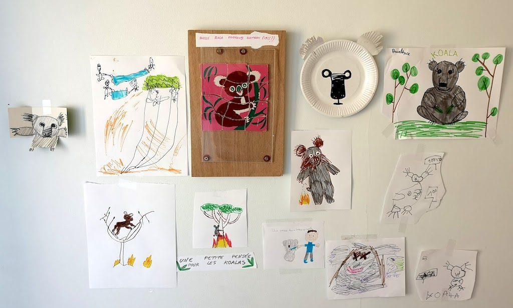 l'exposition de dessins des enfants